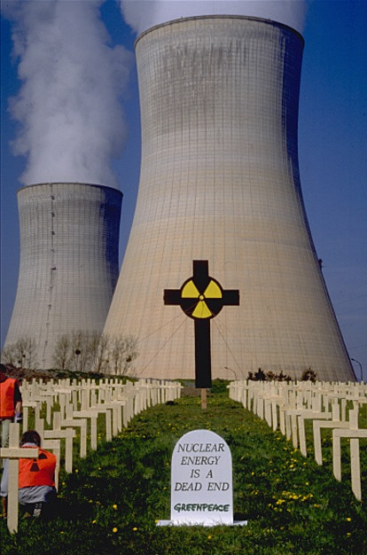 Action at the nuclear power plant at Tihange on the 10th anniversary of the nuclear accident at Chernobyl in the Ukraine. Belgium.